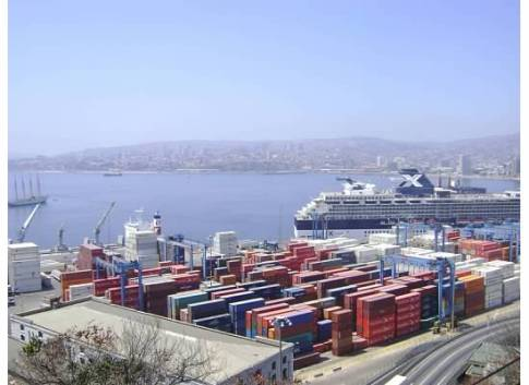 Shipping containers (and cruise ship) at Valparaiso's port.